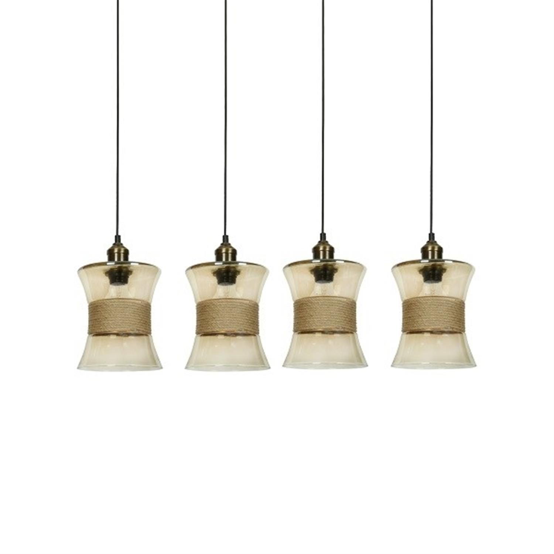 Φωτιστικό οροφής 4φωτο γυάλινο με σχοινί Colin 85x22x120cm Home Lighting 77-4399