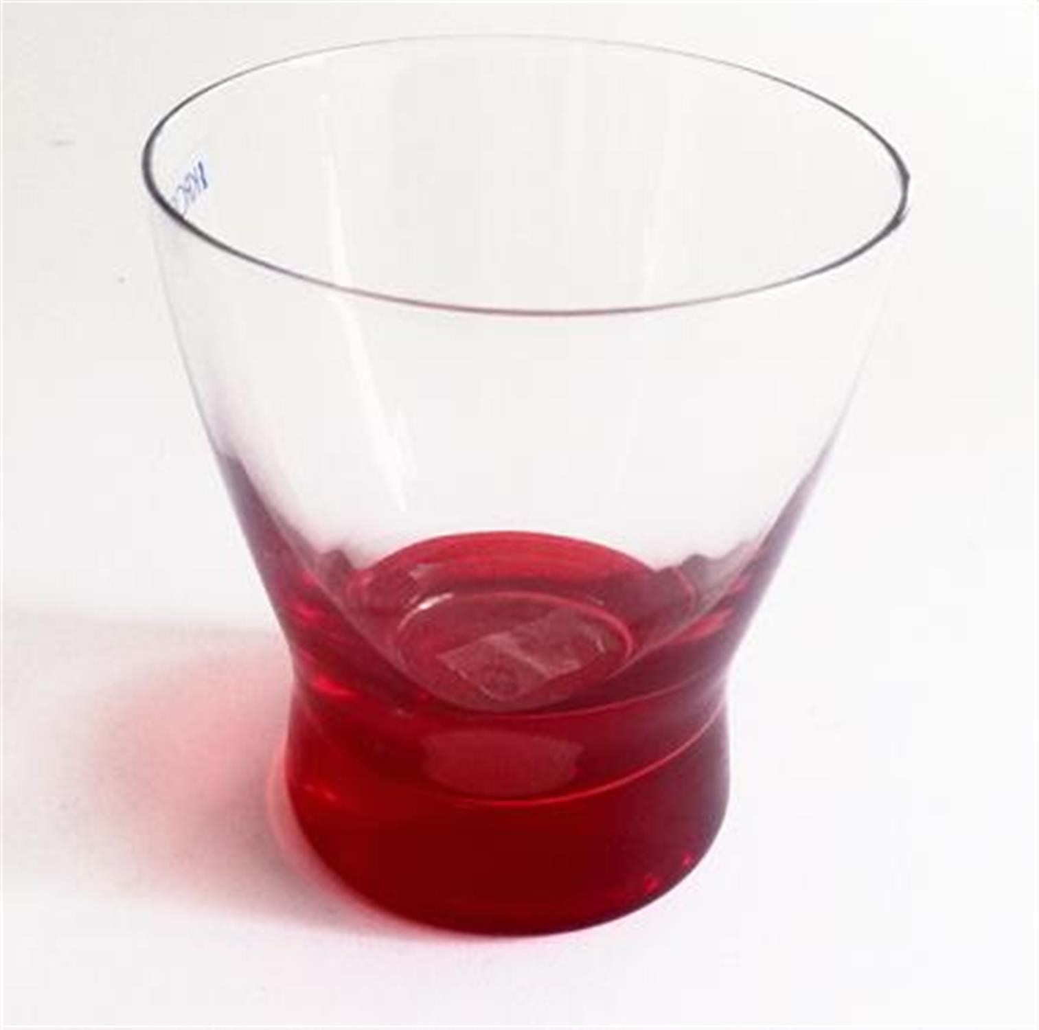 Ποτήρι ουίσκι γυάλινο με κόκκινο πάτο σετ 6 τεμαχίων