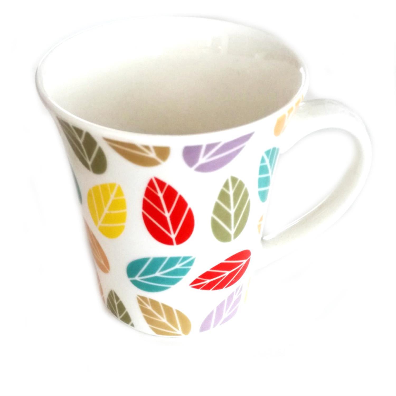 Κούπα λευκή πολύχρωμα φύλλα