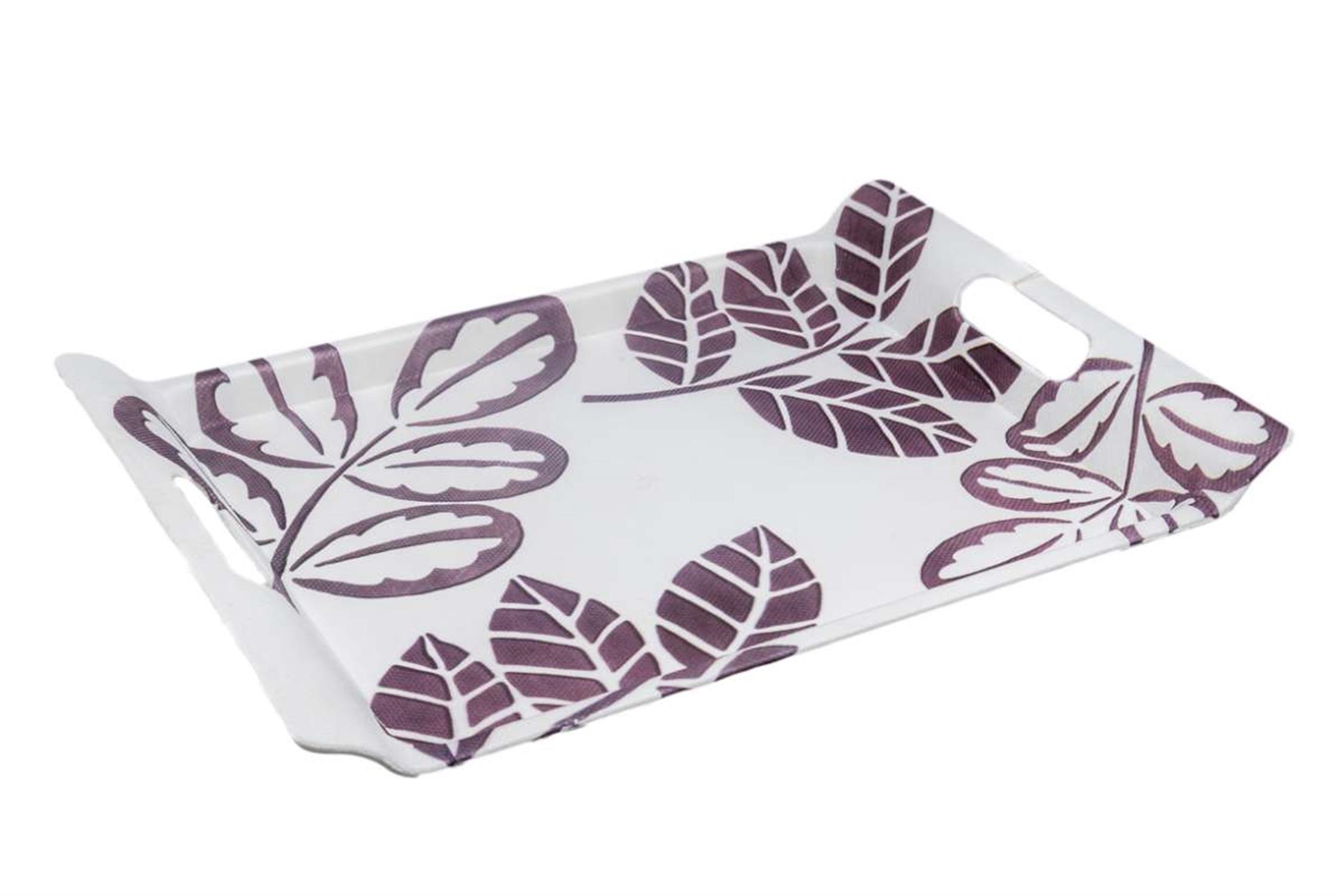 Δίσκος πλαστικός ορθογώνιος μωβ λουλούδια