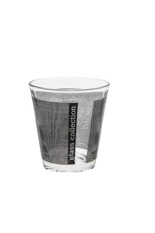 Ποτήρι γυάλινο σετ 6 τεμαχίων μαύρες ρίγες 9x8cm