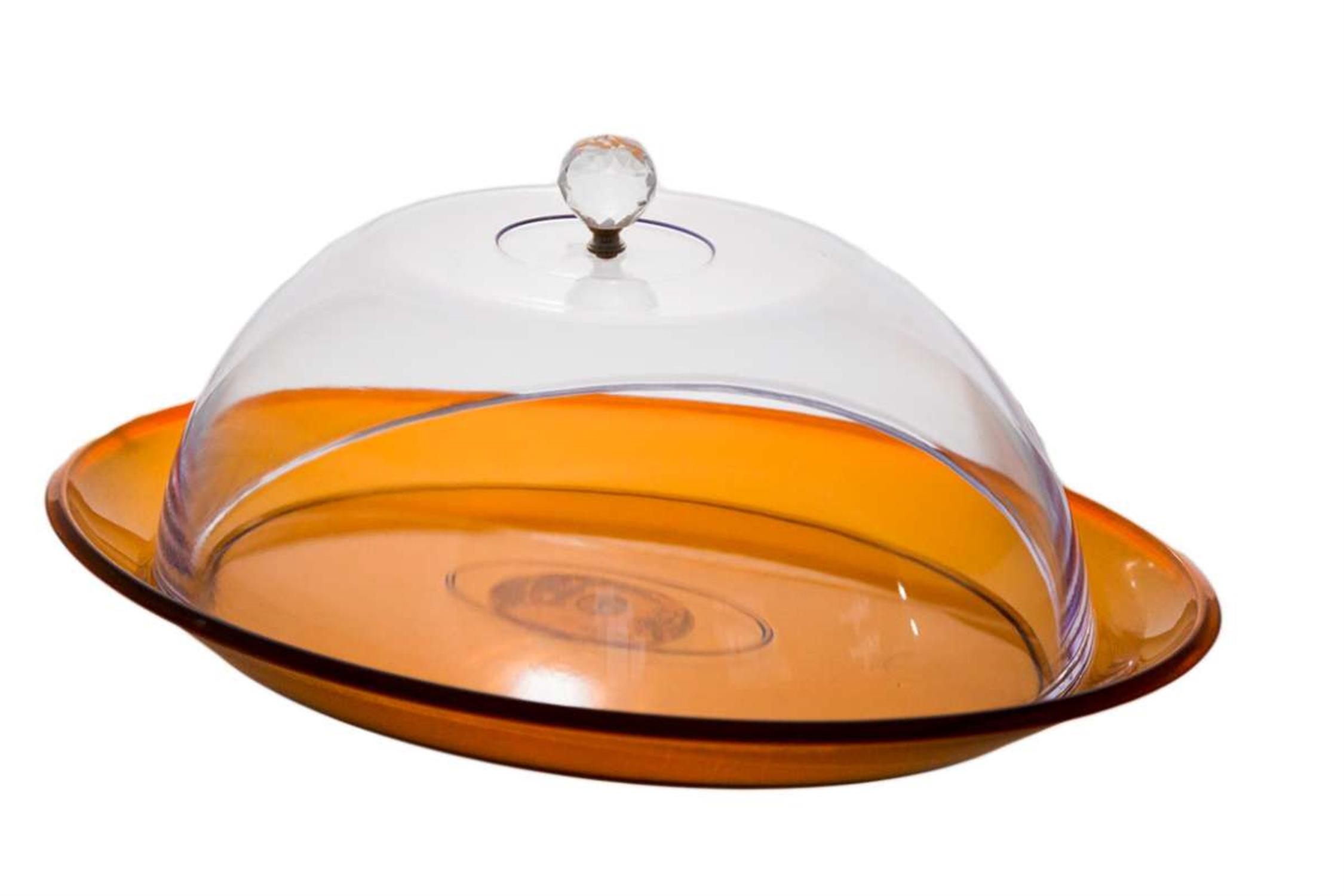 Τουρτιέρα πορτοκαλί οβάλ από plexiglass 40x27x21εκ