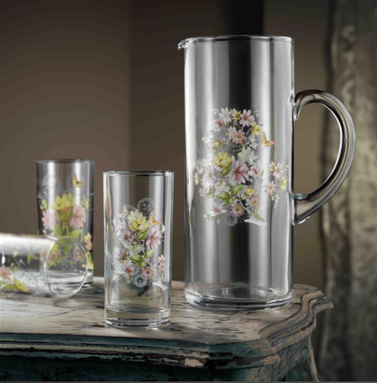 Σετ γυάλινη κανάτα με 6 ποτήρια νερού Ανθάκια – Πεταλούδες ροζ