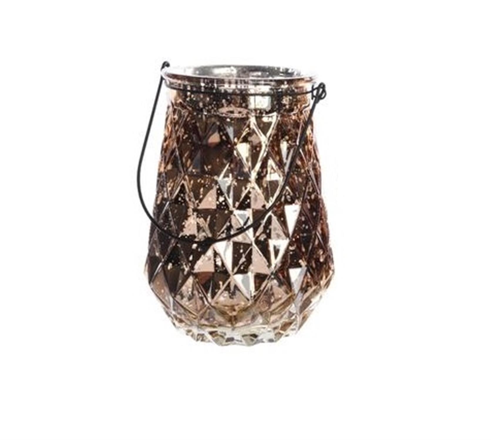 Φανάρι με ανάγλυφα διαμάντια καφέ/σοκολατί ασημί μεταλλικό χερούλι Δ16x22cm Kaemingk 646761-1