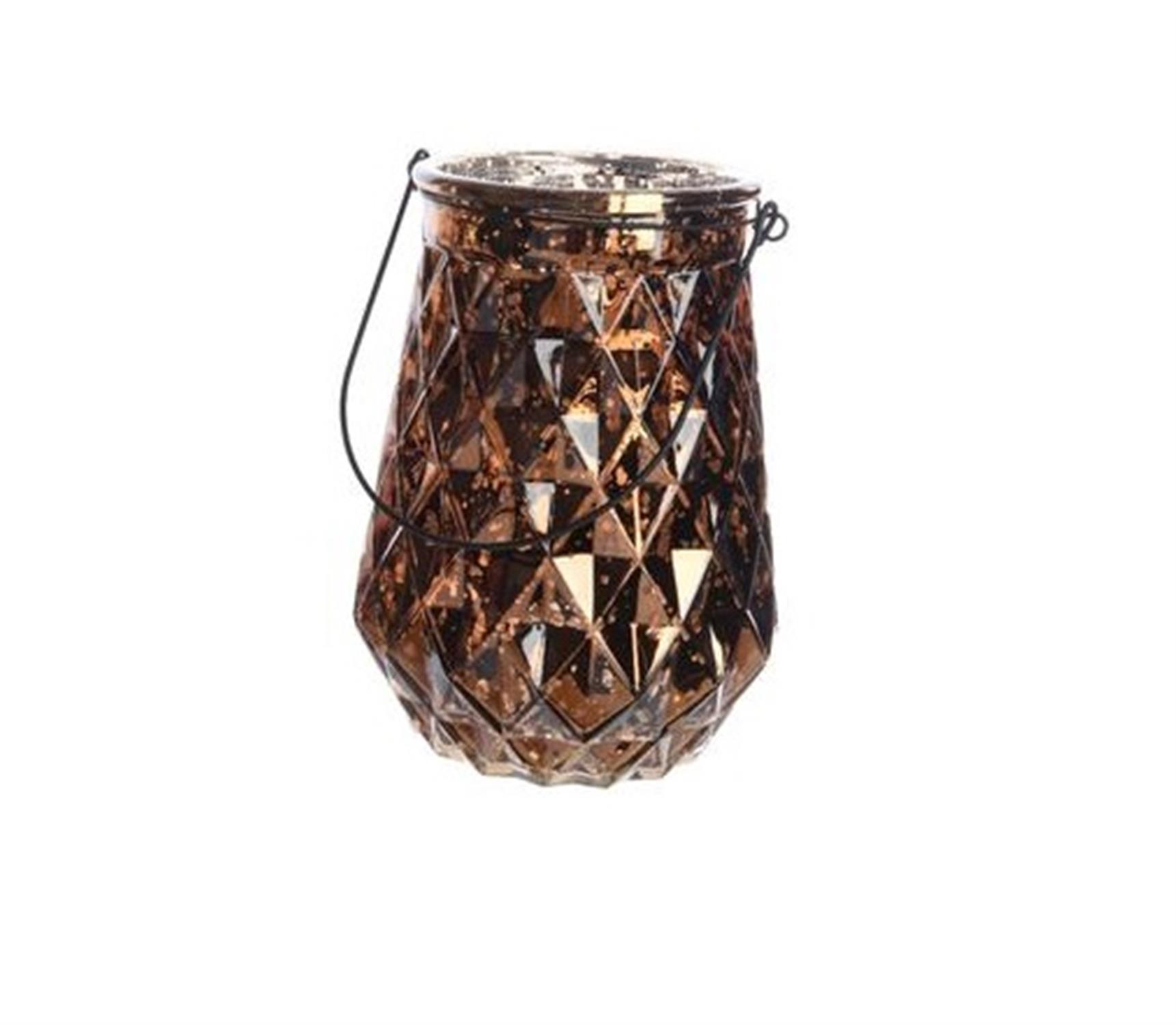 Φανάρι με ανάγλυφα διαμάντια σουέτ καφέ ασημί μεταλλικό χερούλι Δ16x22cm Kaemingk 646761-2