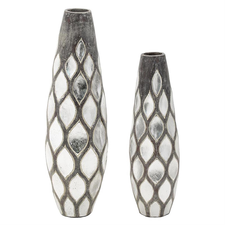 S/2 Βάζο κεραμικό αντικέ γκρι/ασημί 31x100cm Inart 3-70-411-0001