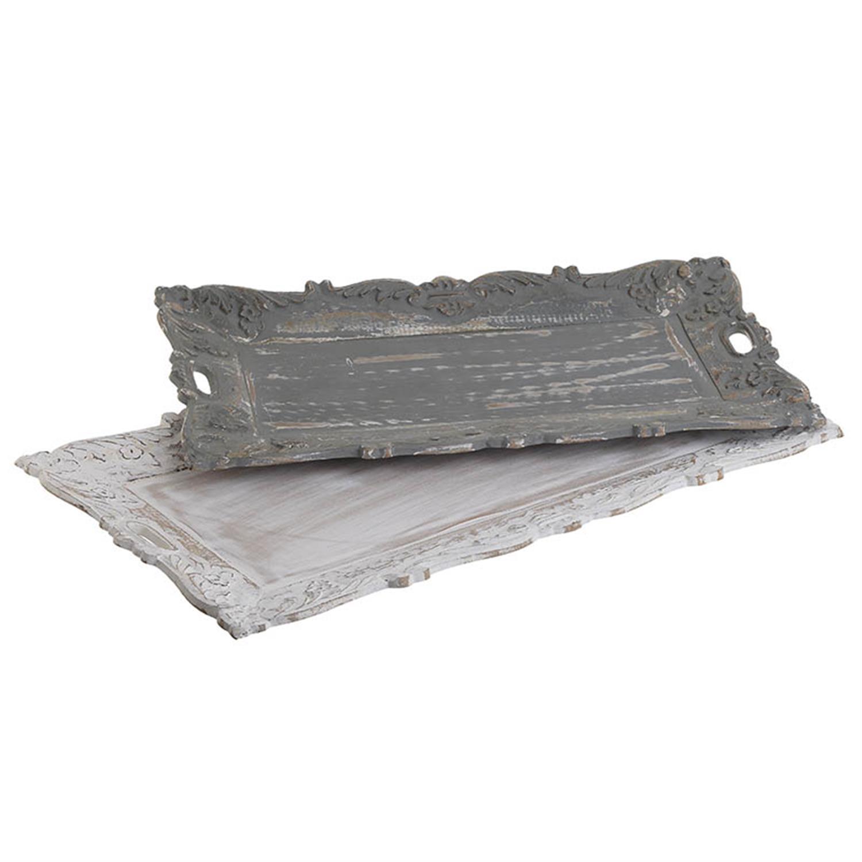 S/2 Δίσκος σερβιρίσματος ξύλινος αντικέ γκρι/εκρού 66x36x3cm Inart 3-70-171-0002