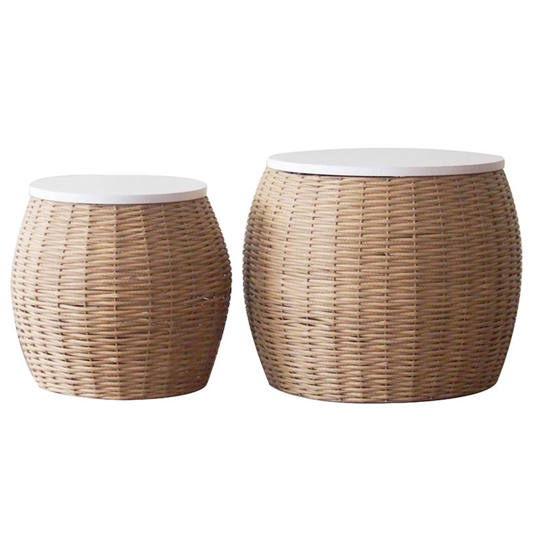 S/2 Καλάθι απλύτων ξύλινο natural/λευκό Δ50x48cm Inart 3-65-376-0002