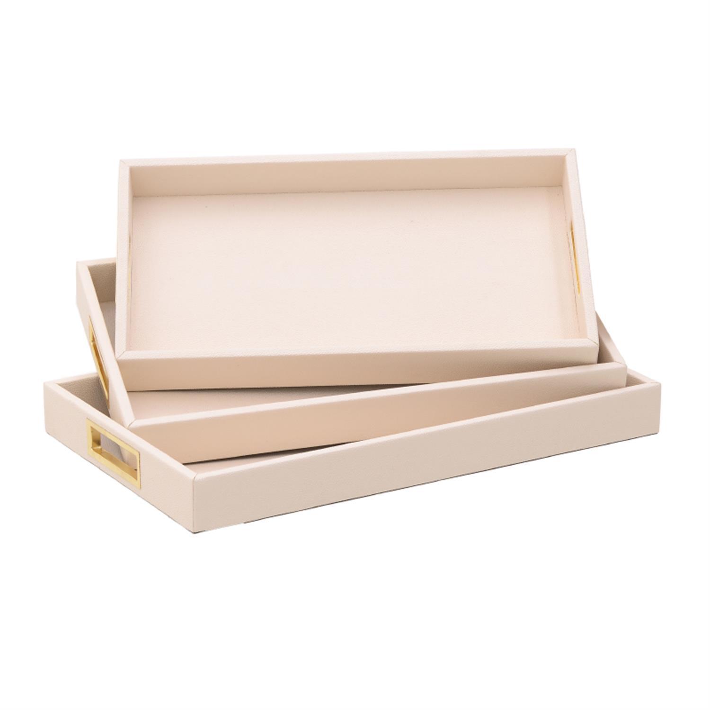 S/3 Δίσκος σερβιρίσματος pu κρεμ/χρυσός 50x30x5cm Inart 3-70-424-0007