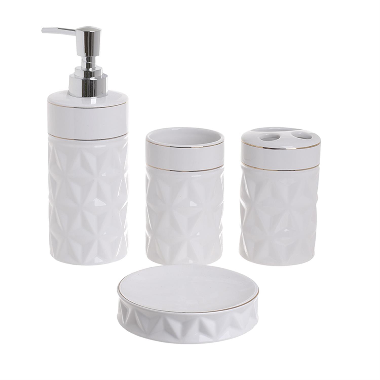 S/4 Σετ μπάνιου κεραμικό λευκό Inart 3-65-245-0010