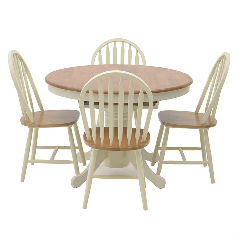 S/5 Τραπέζι ξύλινο καφέ/λευκό με 4 καρέκλες 150x105x75cm Inart 3-50-662-0003