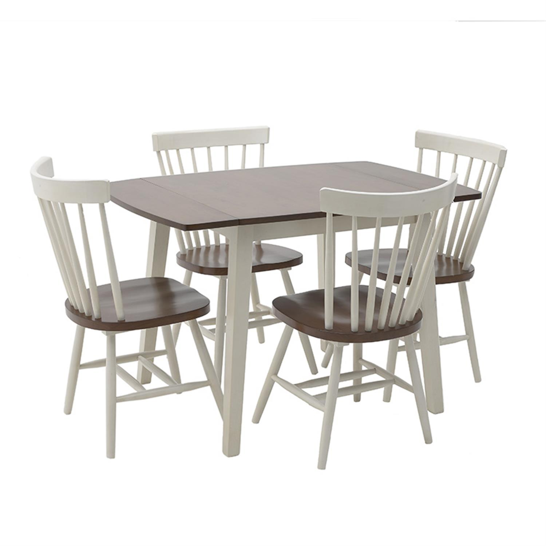 S/5 Τραπέζι ξύλινο καφέ/λευκό με 4 καρέκλες Inart 3-50-662-0013