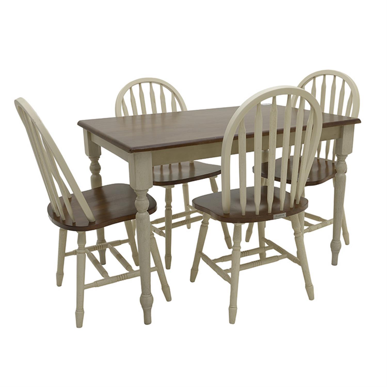 S/5 Τραπέζι ξύλινο καφέ/μπεζ με 4 καρέκλες Inart 3-50-662-0006