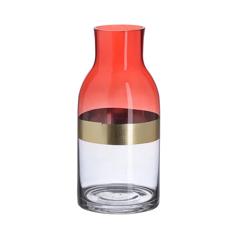 Βάζο γυάλινο κόκκινο/χρυσό Δ12x26cm Inart 3-70-179-0004