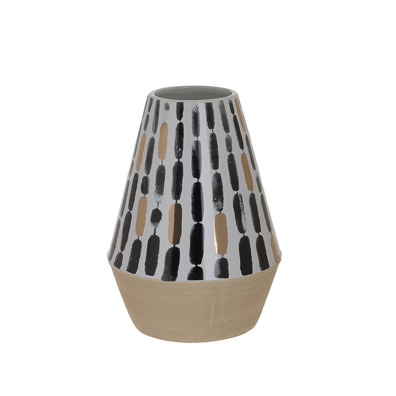 Βάζο κεραμικό λευκό/μαύρο Δ16x21cm Inart 3-70-105-0772