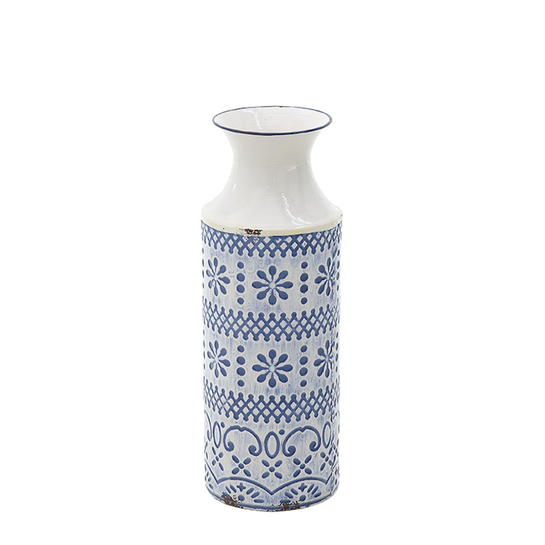 Βάζο μεταλλικό μπλε/λευκό Δ14.5x41cm Inart 3-70-400-0011
