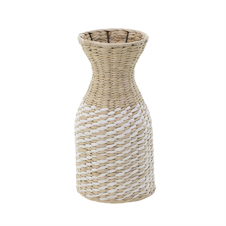Βάζο ψάθινο natural/λευκό Δ20x40cm Inart 3-70-381-0023