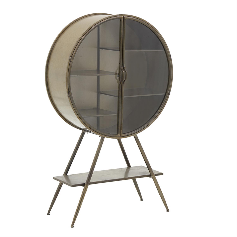Βιτρίνα μεταλλική/γυάλινη αντικέ χρυσή 80x30x132.5cm Inart 3-50-153-0003