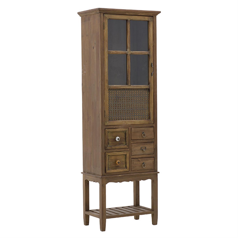 Βιτρίνα ξύλινη καφέ 53.5x34x161cm Inart 3-50-913-0027