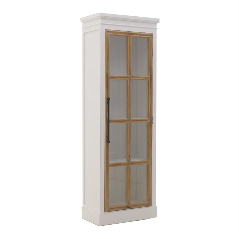 Βιτρίνα ξύλινη λευκή/natural 60×35.5×174.5cm Inart 3-50-667-0036
