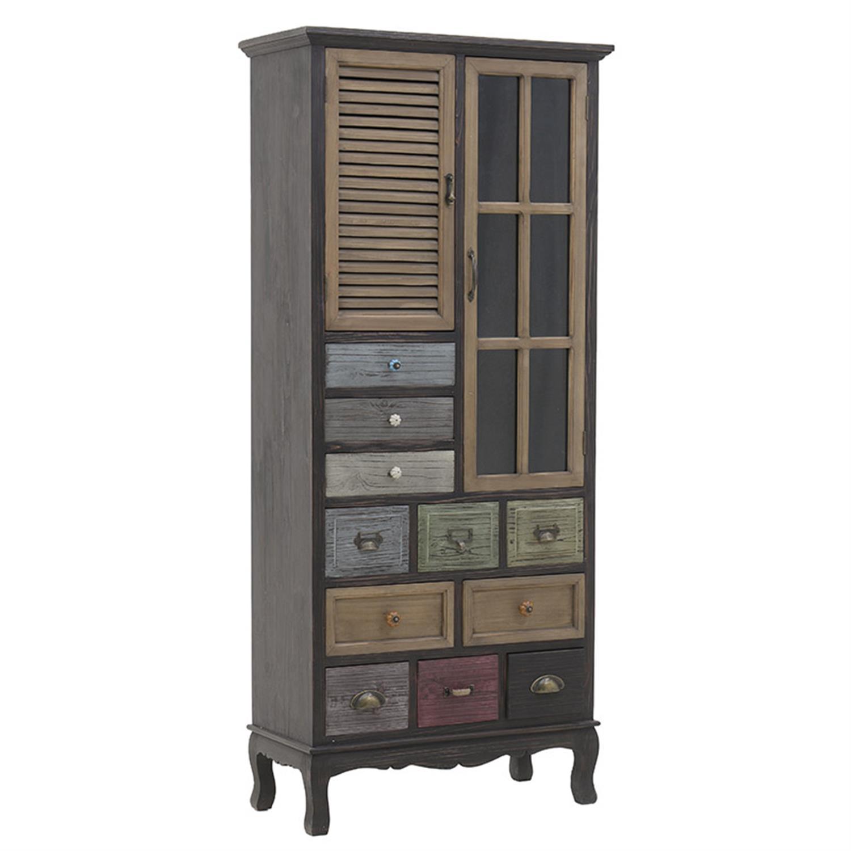 Βιτρίνα/Ντουλάπι ξύλινη multi 73x33x164cm Inart 3-50-913-0013