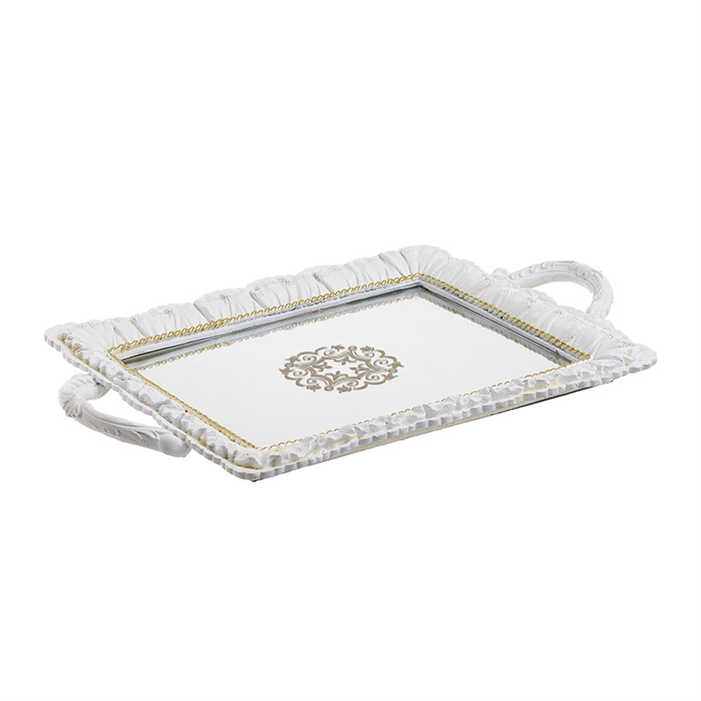 Δίσκος σερβιρίσματος polyresin με καθρέπτη αντικέ λευκός/χρυσός 38.5x24x3cm Inart 3-70-634-0027