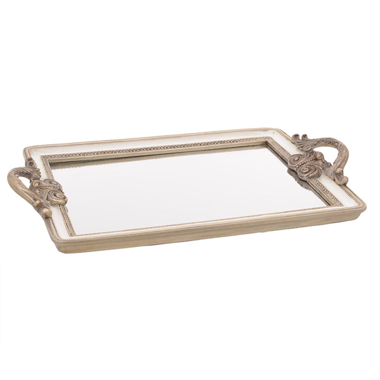 Δίσκος σερβιρίσματος/Καθρέπτης polyresin εκρού/χρυσός 39x25x2cm Inart 3-70-383-0011
