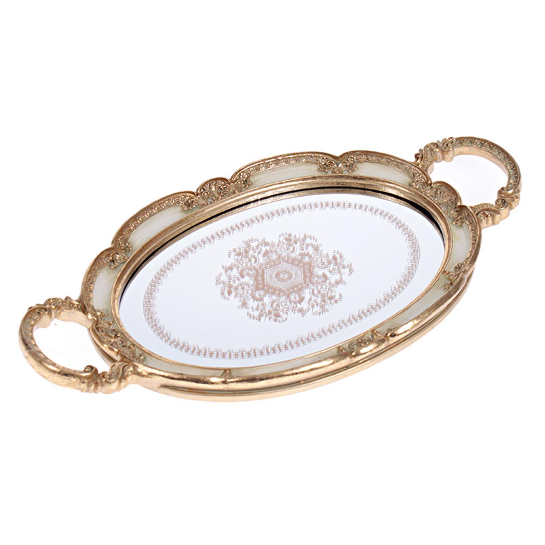 Δίσκος σερβιρίσματος/Καθρέπτης polyresin εκρού/χρυσός 40x22x3cm Inart 3-70-117-0031