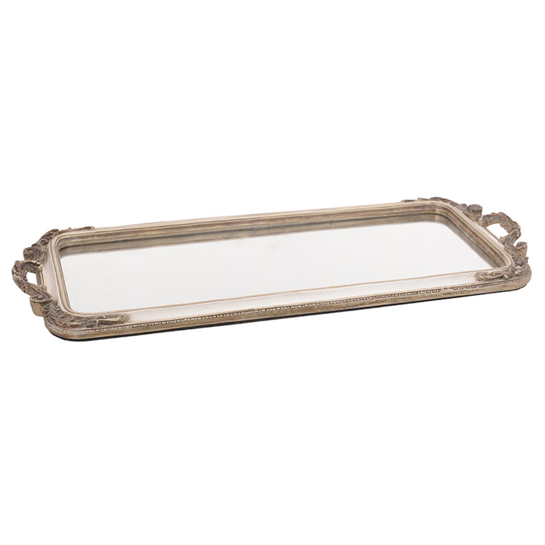 Δίσκος σερβιρίσματος/Καθρέπτης polyresin εκρού/χρυσός 50x22x3cm Inart 3-70-383-0010