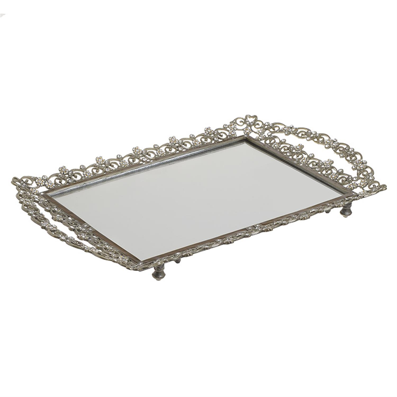 Δίσκος σερβιρίσματος/Καθρέπτης με ζιργκόν μεταλλικός καφέ 39x24x3cm Inart 3-70-744-0032
