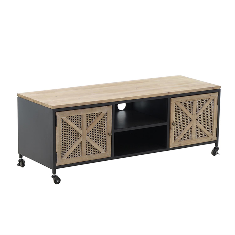 Έπιπλο tv μεταλλικό/ξύλινο natural/μαύρο 115x40x43cm Inart 3-50-478-0007