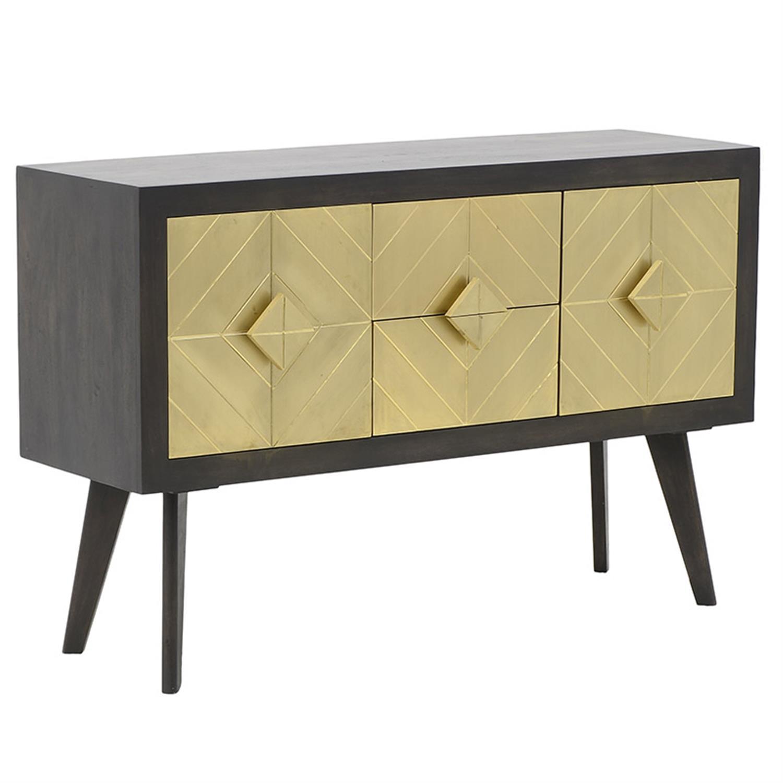 Έπιπλο tv ξύλινο γκρι/χρυσό 131x40x85cm Inart 3-50-380-0003