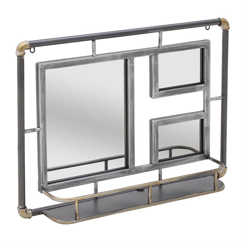Καθρέπτης τοίχου με ράφι μεταλλικός αντικέ γκρι 70x12x51cm Inart 3-95-235-0001