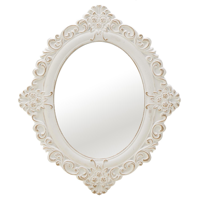 Καθρέπτης τοίχου ξύλινος αντικέ λευκός/χρυσός 50x2x59cm Inart 3-95-480-0003