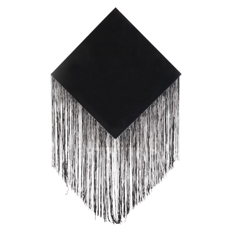 Καθρέπτης τοίχου ρόμβος με κρόσσια μαύρος 30x1x44cm Inart 3-95-145-0008