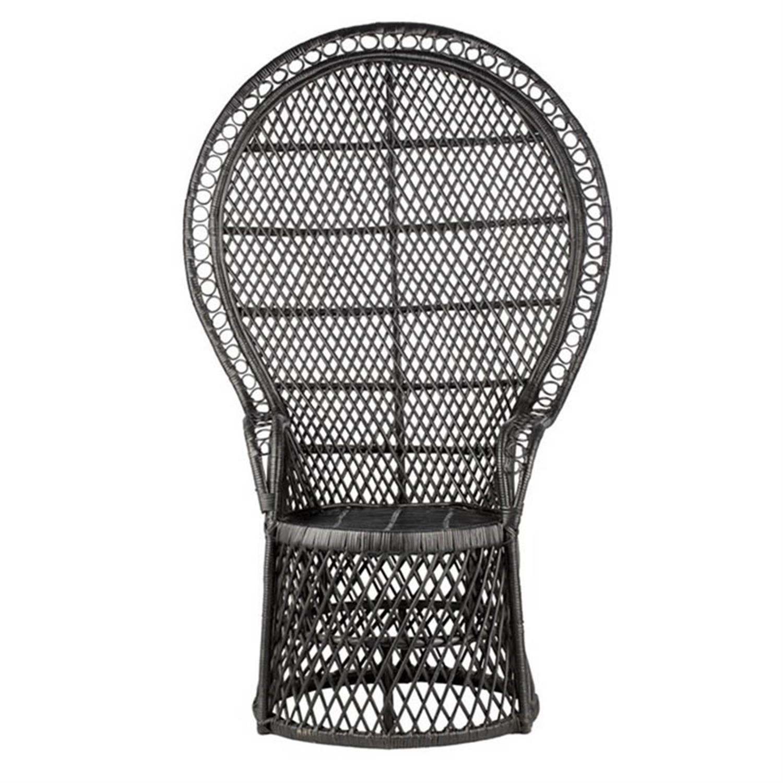 Καρέκλα peacock ραττάν μαύρη 90x50x145cm Inart 3-50-871-0001