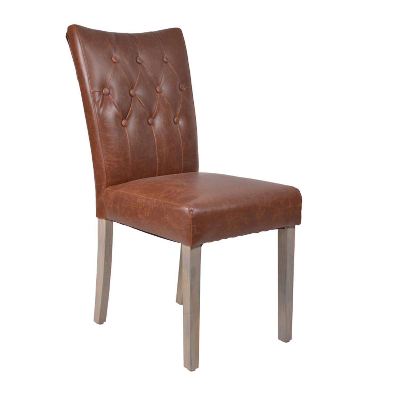 Καρέκλα pu καφέ με ξύλινα πόδια 44x61x95cm Inart 3-50-104-0232