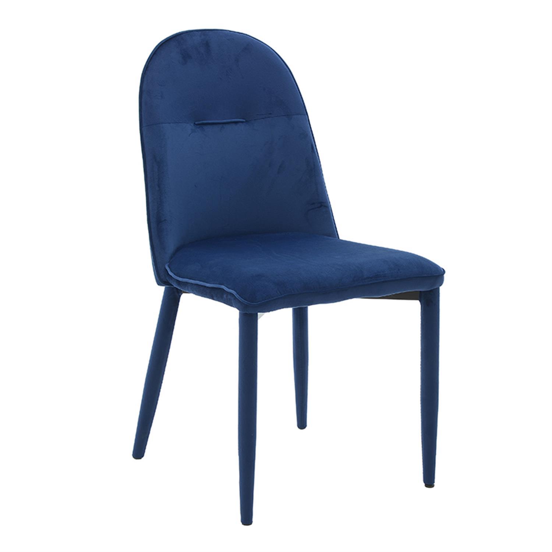 Καρέκλα βελούδινη μπλε 45x52x88/47cm Inart 3-50-553-0001