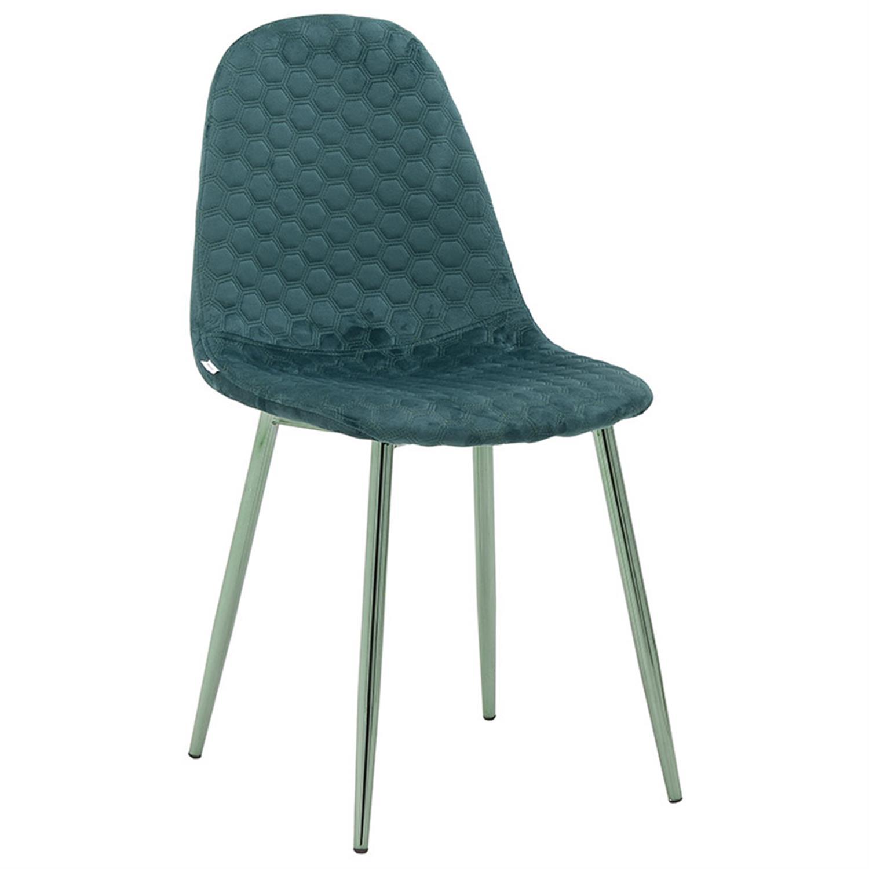 Καρέκλα βελούδινη πράσινη 44x46x88cm Inart 3-50-064-0003
