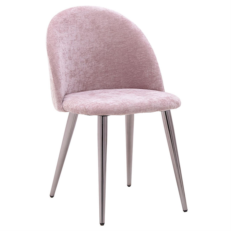 Καρέκλα βελούδινη ροζ 52x49x78cm Inart 3-50-064-0008