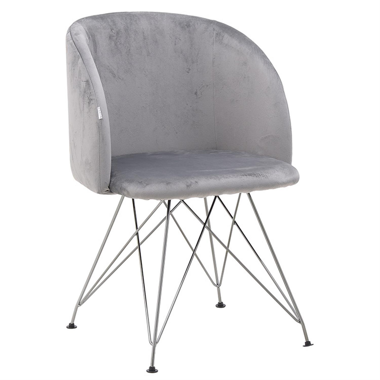 Καρέκλα βελούδινη ροζ/γκρι 54×45.5x81cm Inart 3-50-064-0012