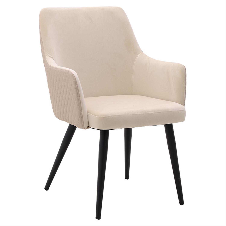 Καρέκλα βελούδινη/μεταλλική εκρού 65x55x87/46cm Inart 3-50-644-0017
