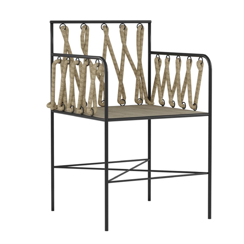 Καρέκλα μεταλλική με σχοινί μαύρη/natural 50x50x82cm Inart 3-50-492-0001