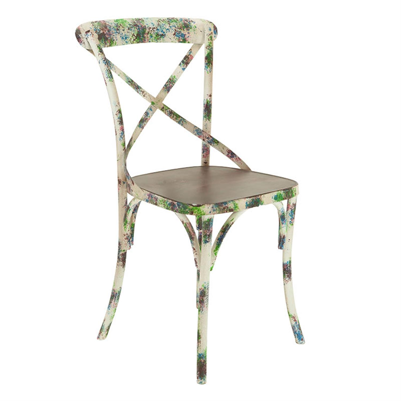 Καρέκλα μεταλλική μπορντώ floral 41x41x88cm Inart 3-50-410-0005