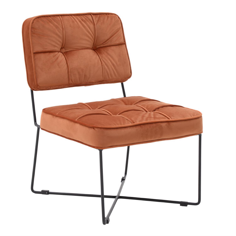 Καρέκλα μεταλλική/βελούδινη πορτοκαλί 75x54x64/40cm Inart 3-50-720-0010
