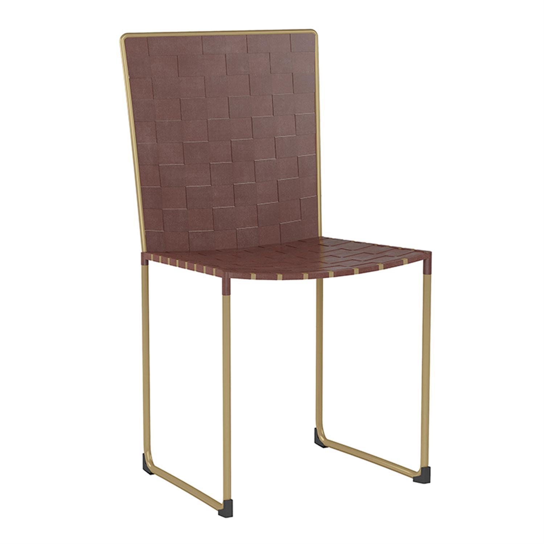 Καρέκλα μεταλλικό/δερμάτινη καφέ/χρυσή 45x43x86cm Inart 3-50-552-0002