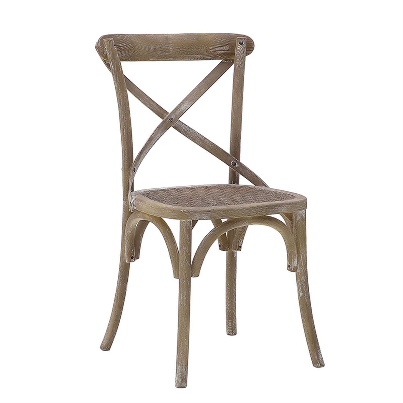 Καρέκλα μπιστρό ξύλινη αντικέ μπεζ 45x42x88cm Inart 3-50-597-0030