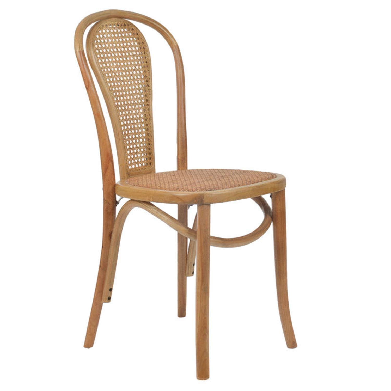 Καρέκλα ξύλινη natural ρατάν 40x45x90cm Inart 3-50-597-0052