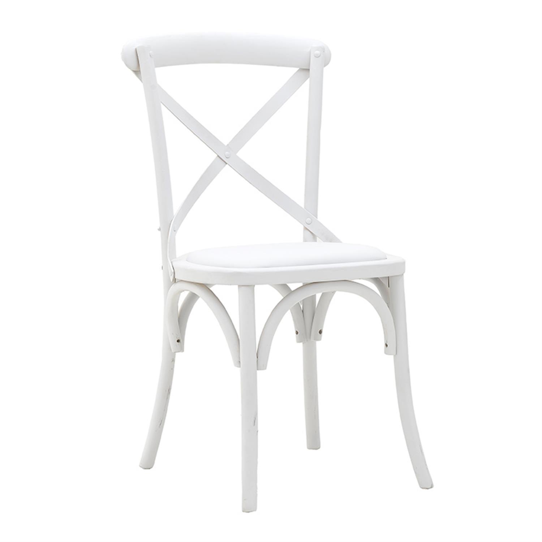 Καρέκλα ξύλινη αντικέ λευκή 44x42x88cm Inart 3-50-659-0015