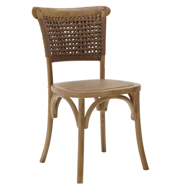 Καρέκλα ξύλινη καφέ με ρατάν 45x42x90cm Inart 3-50-597-0049